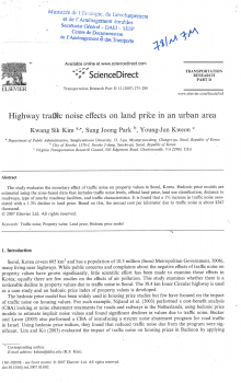Highway traffic noise effects on land price in an urban area.