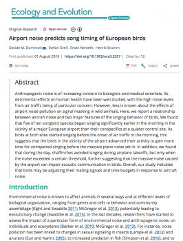Airport noise predicts song timing of European birds.