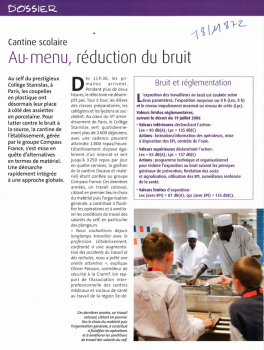 Cantine scolaire. Au menu, réduction du bruit